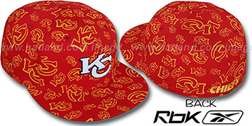 Chiefs TEAM-PRINT ALL-OVER Red Fitted Hat by Reebok