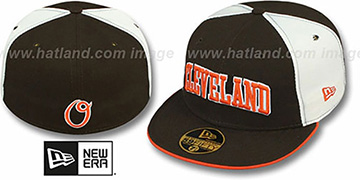Cleveland PINWHEEL-CITY Brown-White-Brown Fitted Hat by New Era