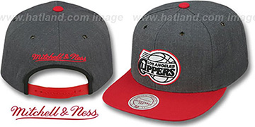 Clippers 2T-HEATHER SNAPBACK Grey-Red Hat by Mitchell & Ness