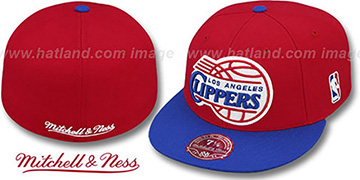 Clippers '2T XL-LOGO' Red-Royal Fitted Hat by Mitchell & Ness