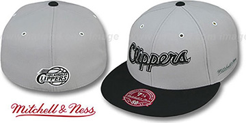Clippers '2T XL-WORDMARK' Grey-Black Fitted Hat by Mitchell & Ness