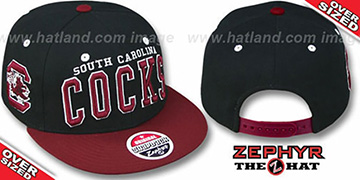 Cocks '2T SUPER-ARCH OVER-SIZED SNAPBACK' Black-Burgundy Hat by Zephyr