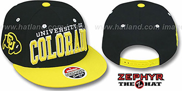 Colorado '2T SUPER-ARCH SNAPBACK' Black-Gold Adjustable Hat by Zephyr