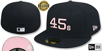 Colt .45s 1962 COOPERSTOWN PINK LOGO BOTTOM Fitted Hat by New Era