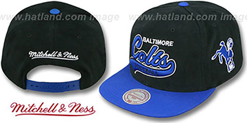Colts '2T TAILSWEEPER SNAPBACK' Black-Royal Hat by Mitchell & Ness