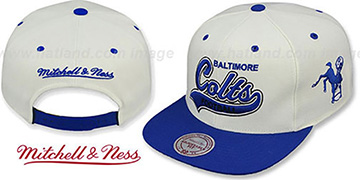 Colts '2T TAILSWEEPER SNAPBACK' White-Royal Hat by Mitchell & Ness