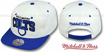 Colts '2T TEAM ARCH SNAPBACK' White-Royal Hat by Mitchell and Ness