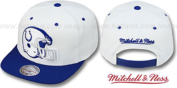 Colts '2T XL-HELMET SNAPBACK' White-Royal Adjustable Hat by Mitchell & Ness