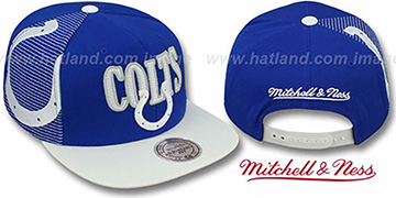 Colts LASER-STITCH SNAPBACK Royal-White Hat by Mitchell and Ness