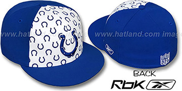 Colts TEAM-PRINT PINWHEEL White-Royal Fitted Hat by Reebok