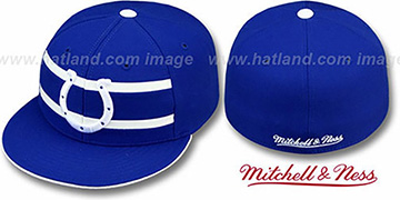 Colts 'THROWBACK TIMEOUT' - 1 Royal Fitted Hat by Mitchell and Ness