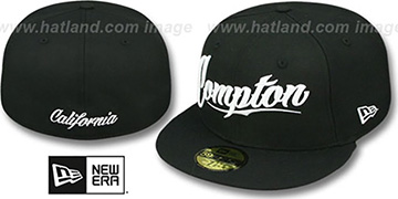Compton 'FITTED SCRIPT' Black Hat by New Era