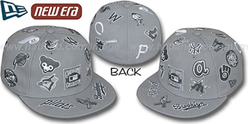 Cooperstown 'ALL-OVER' Grey Fitted Hat by New Era