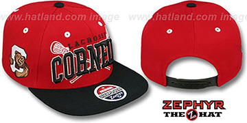 Cornell 'LACROSSE SUPER-ARCH SNAPBACK' Red-Black Hat by Zephyr