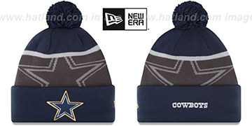 Cowboys '2015 GOLD COLLECTION' Navy-Grey Knit Beanie Hat by New Era
