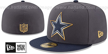 Cowboys 2015 NFL GOLD COLLECTION Grey-Navy Fitted Hat by New Era