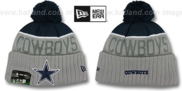 Cowboys 2015 STADIUM Grey-Navy Knit Beanie Hat by New Era