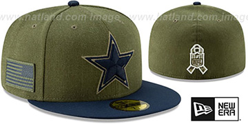 Cowboys 2018 SALUTE-TO-SERVICE Olive-Navy Fitted Hat by New Era