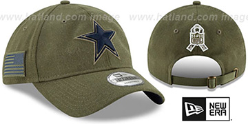 Cowboys 2018 SALUTE-TO-SERVICE STRAPBACK Olive Hat by New Era