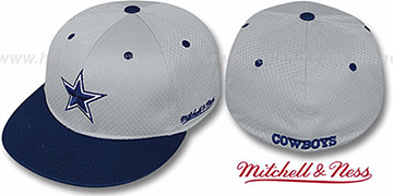 Cowboys '2T BP-MESH' Grey-Navy Fitted Hat by Mitchell & Ness
