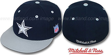Cowboys '2T CLASSIC THROWBACK' Navy-Grey Fitted Hat by Mitchell & Ness