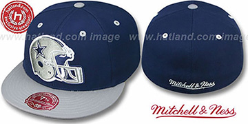 Cowboys '2T XL-HELMET' Navy-Grey Fitted Hat by Mitchell & Ness