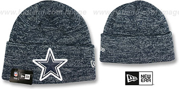 Cowboys 'BEVEL' Navy-Grey Knit Beanie Hat by New Era