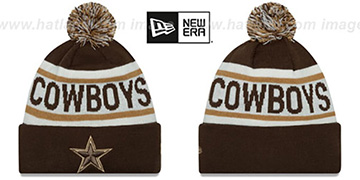 Cowboys BIGGEST FAN Brown-Wheat Knit Beanie Hat by New Era
