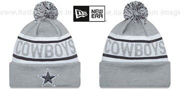 Cowboys BIGGEST FAN Grey-White Knit Beanie Hat by New Era