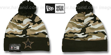 Cowboys CAMO CAPTIVATE Brown Knit Beanie Hat by New Era
