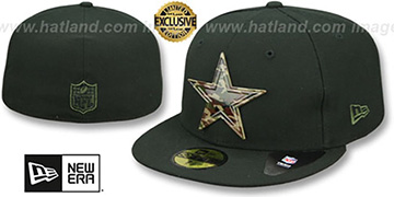 Cowboys 'CAMO METAL-BADGE' Black Fitted Hat by New Era