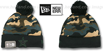 Cowboys CAMO-TOP Black-Army Camo Knit Beanie Hat by New Era