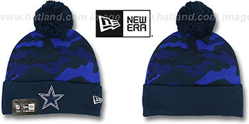 Cowboys 'CAMO-TOP' Navy-Royal Knit Beanie Hat by New Era