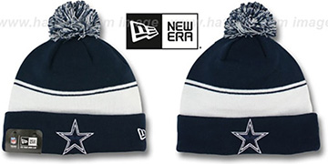 Cowboys 'CUFF-FLIP' Navy-White Knit Beanie Hat by New Era