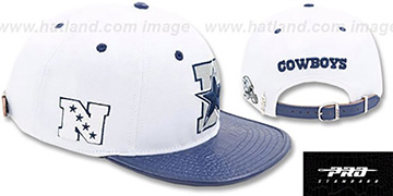 Cowboys D-STAR STRAPBACK White-Navy Hat by Pro Standard