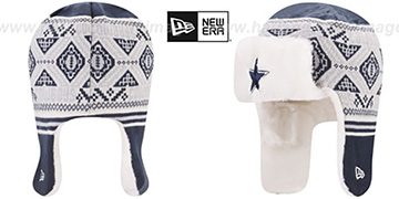 Cowboys FESTIVE TRAPPER Navy-Grey Knit Hat by New Era