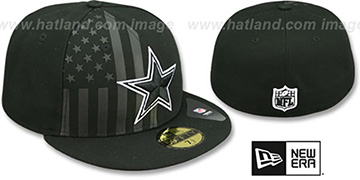 Cowboys 'FLAG-FRONT' Black Fitted Hat by New Era