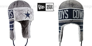 Cowboys FROSTY TRAPPER Grey-Navy Knit Hat by New Era