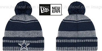 Cowboys GLACIAL Navy-Grey Knit Beanie Hat by New Era
