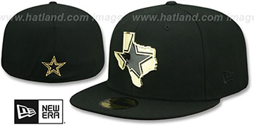 Cowboys GOLD STATED METAL-BADGE Black Fitted Hat by New Era