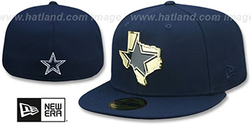 Cowboys GOLD STATED METAL-BADGE Navy Fitted Hat by New Era