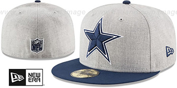 Cowboys HEATHER GRAND Grey-Navy Fitted Hat by New Era