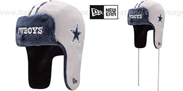 Cowboys 'HELMET HEAD TRAPPER' Grey Knit Hat by New Era