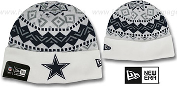 Cowboys 'IVORY CUFF' White Knit Beanie Hat by New Era