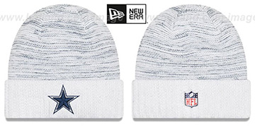 Cowboys 'KICKOFF' White-Navy Knit Beanie Hat by New Era