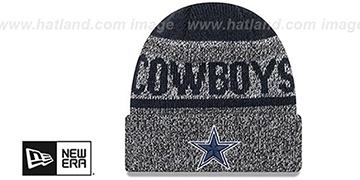 Cowboys LAYERED CHILL Navy-Grey Knit Beanie Hat by New Era