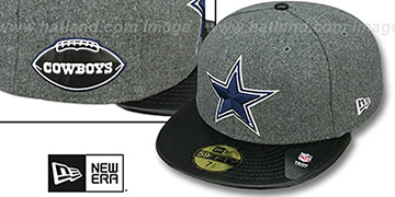 Cowboys LEATHER-MELT Grey-Black Fitted Hat by New Era