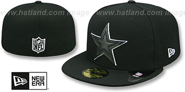 Cowboys LEATHER POP Black Fitted Hat by New Era