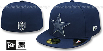 Cowboys LEATHER POP Navy Fitted Hat by New Era