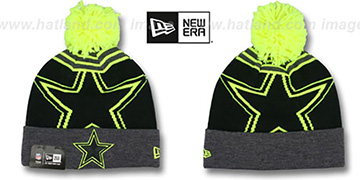 Cowboys 'LOGO WHIZ' Black-Charcoal-Lime Knit Beanie Hat by New Era